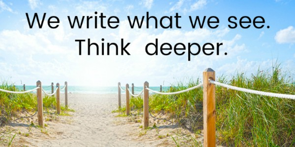 picture of beach with a phrase about settings for writers