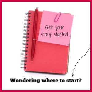 notebook with message about creativity in writing and getting your story started