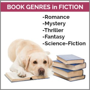 a list of writing genres and a dog with books