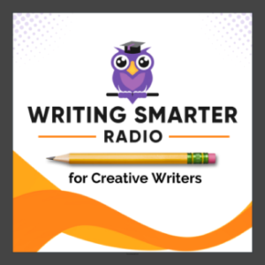 Writing Smarter Radio logo, owl with pencil (podcast for creative writers)