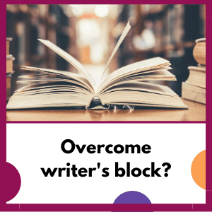 open book with question, overcome writer's block?