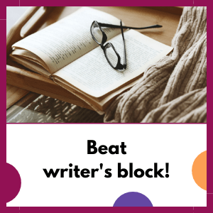 book with glasses, beat writers block